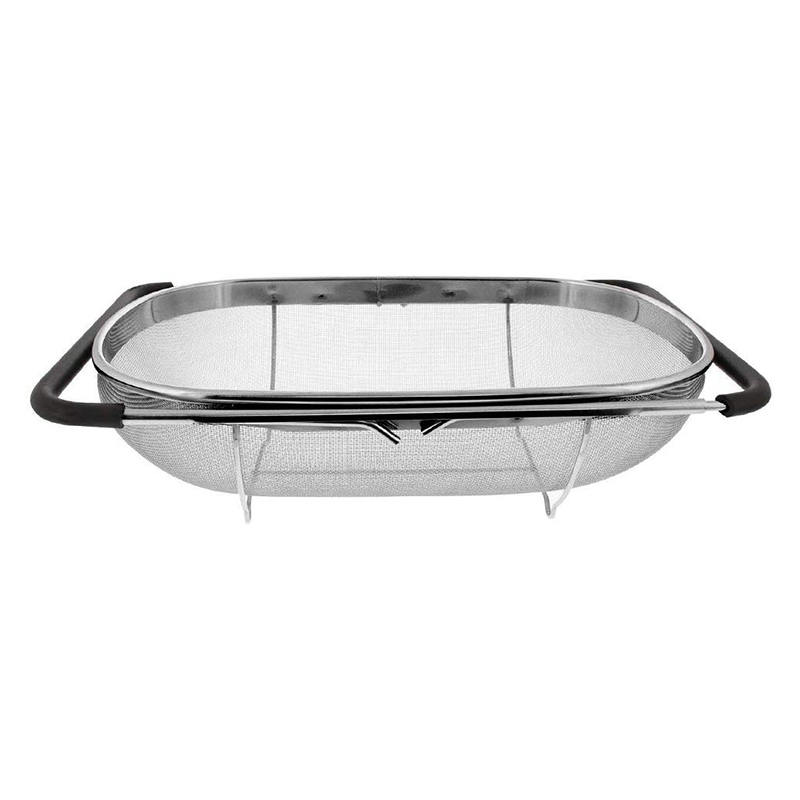 Sink Colander Strainer Basket Stainless Steel,for Kitchen Sink With Rubber Grip,Fine Mesh Stainless Steel,Expandable Metal Strai