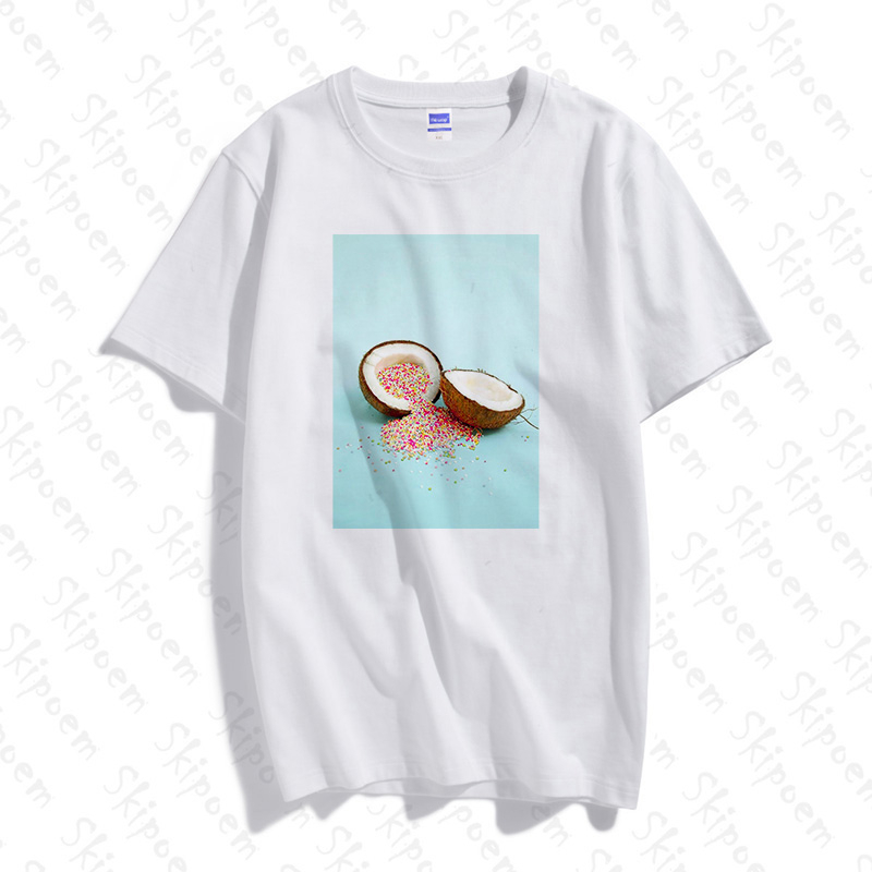 Cute Colorful Coconuts T-shirt Women Korean Style Vintage Tumblr Aesthetic Plus Size Cotton Short Sleeve Clothes Tee Shirt Femme
