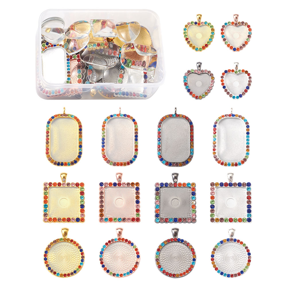 DIY Pendant Making Kits with Alloy Rhinestone Pendant Cabochon Settings and Transparent Glass Cabochons Mixed Shapes Mixed color jewelry making kits  - AliExpress