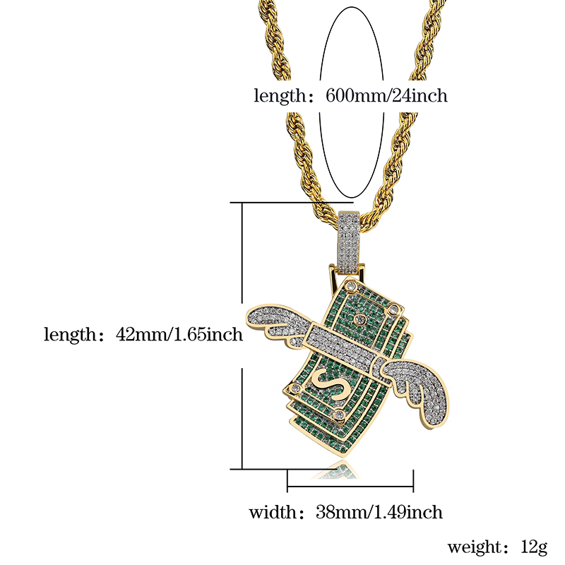 Image 5 - New Iced Out Flying Cash Solid Pendant Necklace Mens Personalized Hip Hop Gold Silver Color Charm Chains Jewelry Gifts-in Pendant Necklaces from Jewelry & Accessories