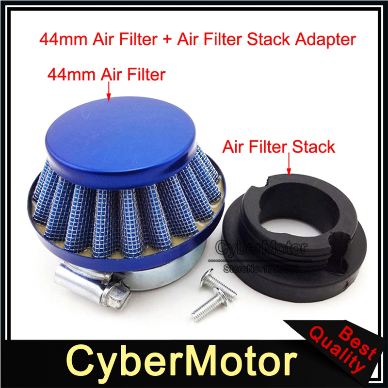 Blue Air Filter 44mm Steel Cleaner For 47 49cc Go Kart ATV Mini Dirt Pocket Bike