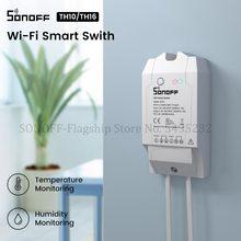 Itead SONOFF TH10/TH16 Wifi переключатель с датчиком температуры и влажности монитор переключатель беспроводной пульт дистанционного управления через e Welink управление работать с Алиса