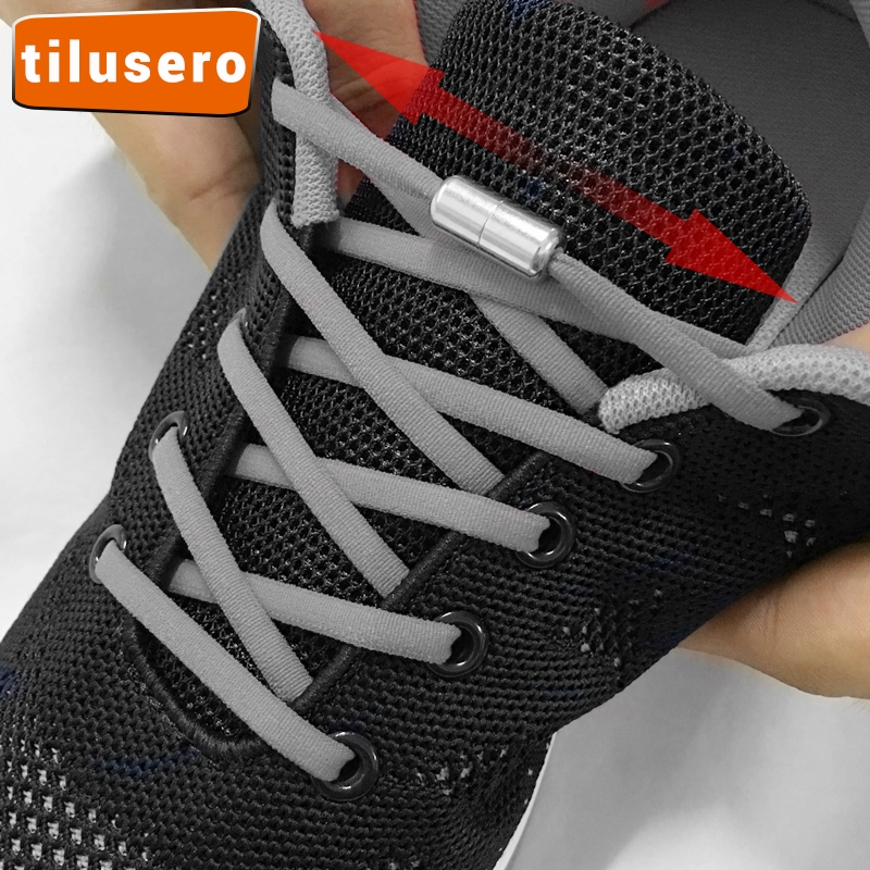 1Pair No Tie Shoelaces Round Elastic Shoe Laces For Kids And Adult Sneakers Shoelace Metal Lock Quick Lazy Laces Shoestrings