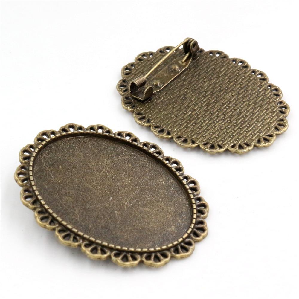 New Fashion 5pcs 30x40mm Inner Size Antique Bronze Pin Brooch Pierced Style Base Setting Pendant (B1-13)