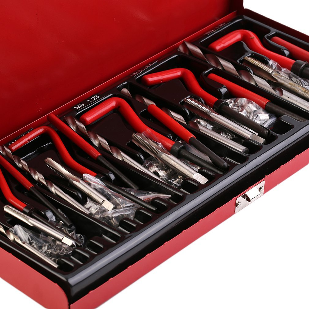 DE 131pcs/set Durable Thread Repair Tool Helicoil Rethread Repair Kit Garage Workshop Tool Professio