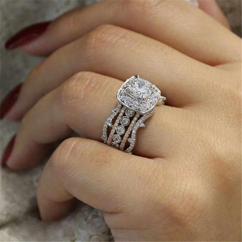 Modyle haute qualité or Rose argent couleur 2 ct grand blanc CZ pierre bague de mariage pour femme luxe complet Zircon bijoux de mode