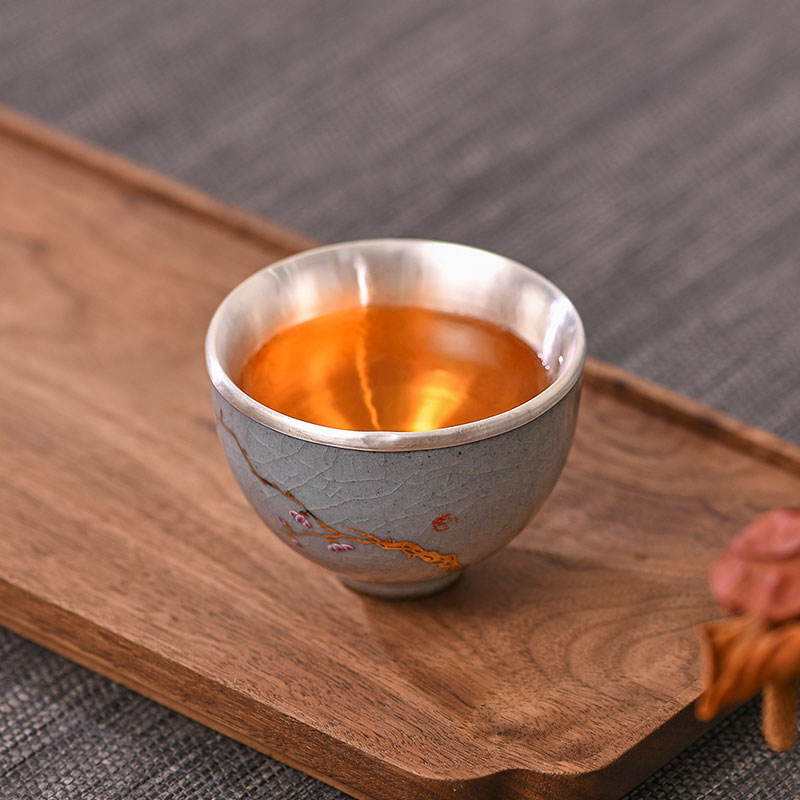 Sac en porcelaine argent 999 thé en argent sterling Kung Fu service à thé en argent bleu et blanc tasse à thé en porcelaine tasse en argent sterling - 2