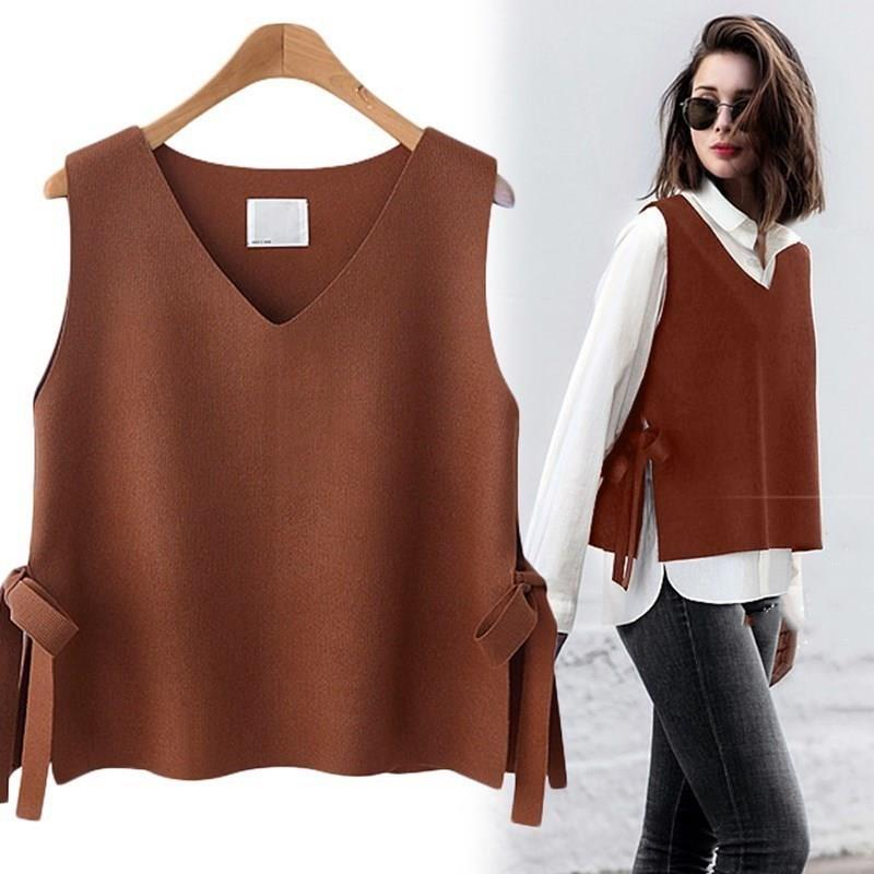 Women Vest Autumn Short Women's Vest Solid Korean Wool Vest Women With Belt Knit Cashmere Vest