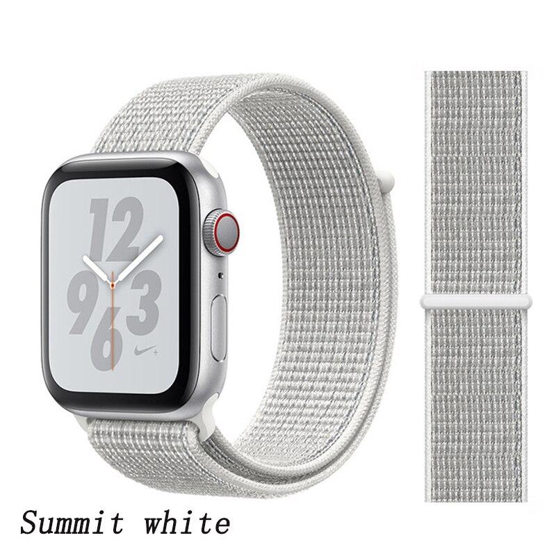 Спортивная петля ремешок apple watch band 42 мм 38 мм apple watch 4 3 band iwatch band 44 мм 40 мм correa pulseira 42 44 нейлоновый ремешок для часов - Цвет ремешка: flash white