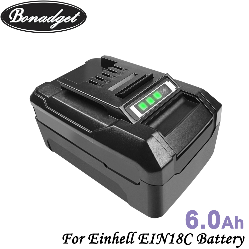 Bonadget 6000mAh 18V Chargeable Li-ion Battery For Einhell EIN18C Li-ion Battery Replace PXBP-300 PXBP-600 PX-BAT52 Tool Battery