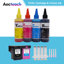 Aecteach для hp 121 XL для hp 121 чернильный картридж для hp Deskjet D2563 F4283 F2423 F2483 F2493 принтер+ 4 чернильные краски для бутылок