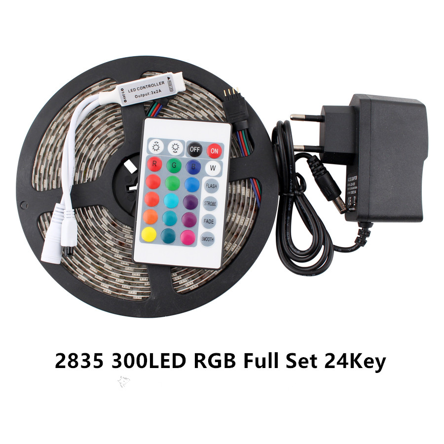 RGB LED Strip Light Waterproof SMD5050 5M  RGB Tape DC12V Led Tape Diode Light Strips Flexible Striped Lamp IR Remote Controller