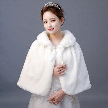 Women Wedding Bolero Winter Ivory Faux Fur Shawl Wrap Bridal Wraps Warmer With Ribbon Cloak - discount item  20% OFF Wedding Accessories