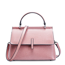 Trendy oil wax real leather handbag 2019 female bag luxury shoulder pure color crossbody bags for women high quality
