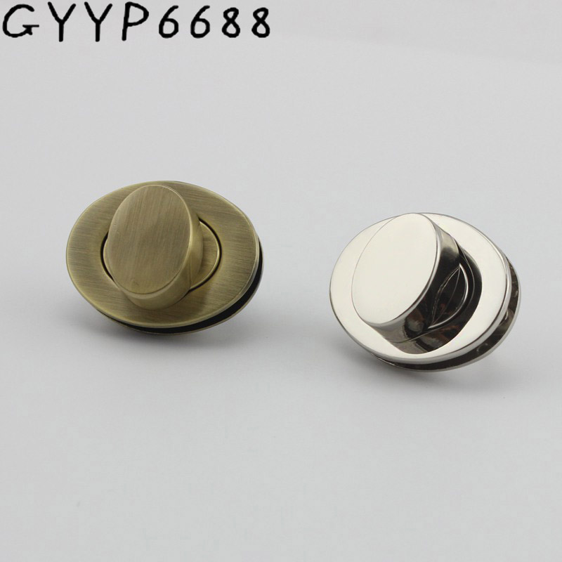 5sets 20sets Hight Qulity Silver Thick Oval Lock For Bag Bright Handbags  Leather Twist Hardware Accessories
