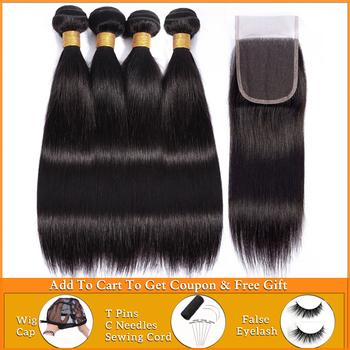 Lanqi pasma prostych włosów z zamknięciem 100 ludzkie włosy splot wiązki z zamknięciem nie remy peruwiańskie pasma włosów z zamknięciem tanie i dobre opinie = 5 Non-Remy Hair Proste CN (pochodzenie) Ciemniejsze Kolory Peruwiański włosów straight hair bundles with closure