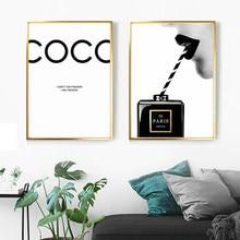 Posters cópias da lona do vintage pintura preto perfume parede fotos para sala de estar moda arte couture lábios vermelhos decoração casa