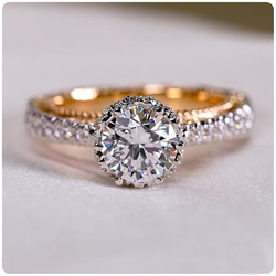 VAGZEB Luxury Classic 6 Claw Crystal Zircon Ring Women Wedding Jewelry Unique Two Tone Design Elegant Female Engagement Ring Hot