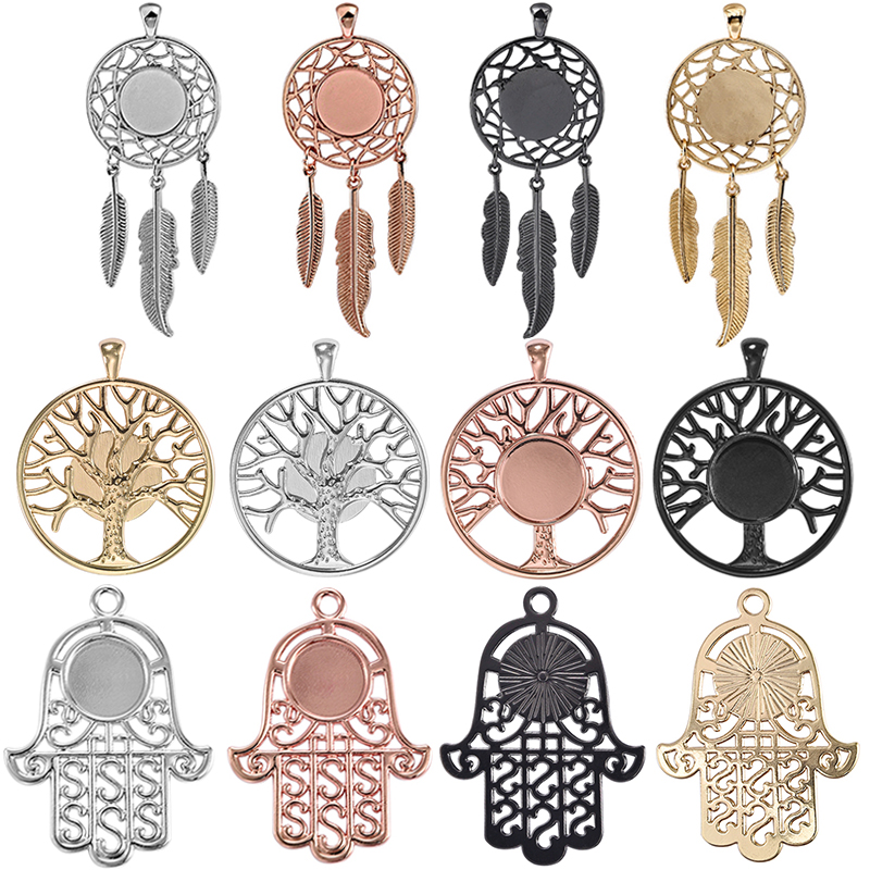 4pcs Life Tree Hand Palm Charm Dream Catcher Pendant Blank Bezel Tray 14mm Cabochon Base Setting DIY Necklace Jewelry Findings