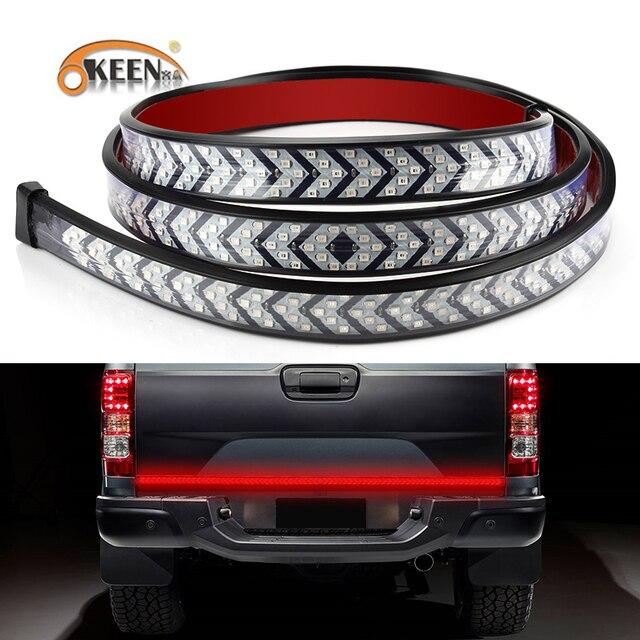 OKEEN Car LED Pickup Arrow Red LED Flowing Yellow Turn Signal Lamp Scanning Brake LED Light Bar 100cm Reverse Tail Light Strip