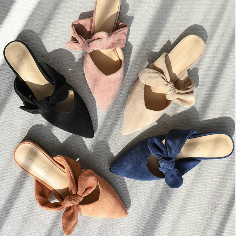 New 2020 Shoes Woman Summer Slippers Women Sandals Flats Shoes Ladies Flock Butterfly Knot Casual Beach Outdoor Elegant SlidesLow Heels   -