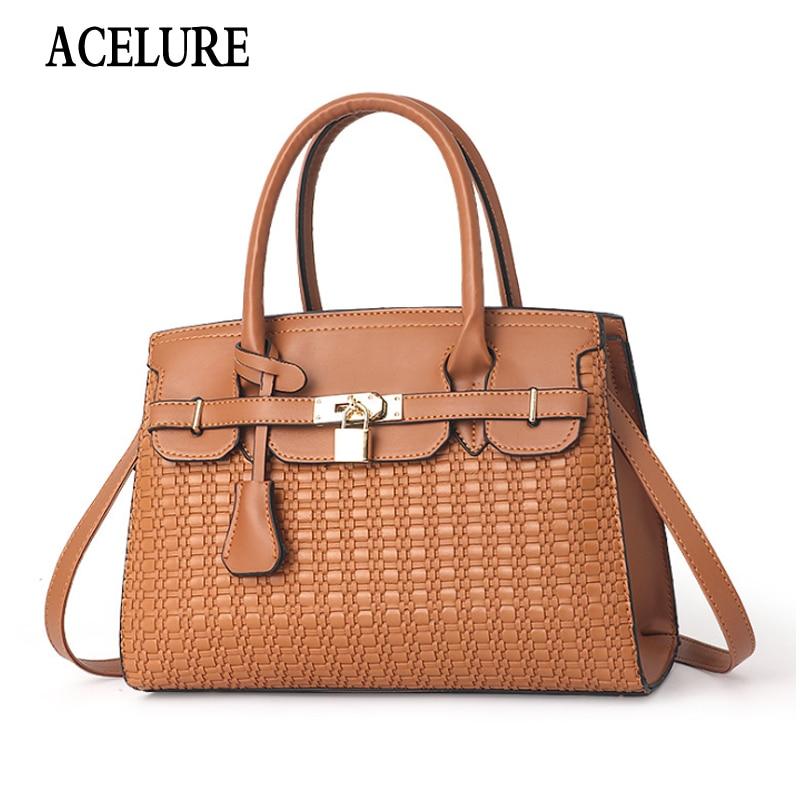 ACELURE Lock Decor Casual Fashion Women Shoulder Bags Solid Color PU Leather Satchels Handbags Ladies Shopping Crossbody Bags