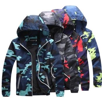 Men S Spring Summer Hood Jackets Reflective Fashion Camouflage Waterproof Windbreaker Bomber Jacket New Style