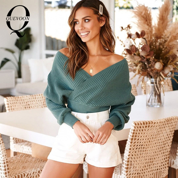 QUEVOON Womens Cropped Sweaters Criss Cross Deep V-neck Batwing Sleeve Striped Knitted Pullover Autumn Winter Ladies Jumpers