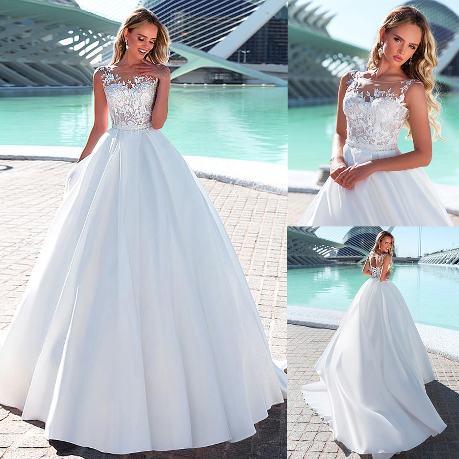 Delicate Tulle & Satin Bateau Neckline A-line Wedding Dresses Beading Sash Lace Up Bridal Dress Vestidos De Casamento