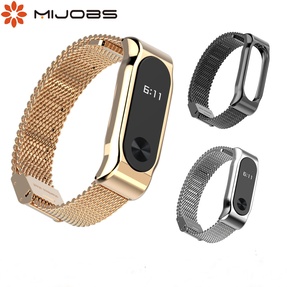 For Mi Band 2 Strap Metal Wriststrap Stainless Steel Bracelet For Xiaomi Mi Band 2 Smart Accessories Wristband Miband 2 Strap