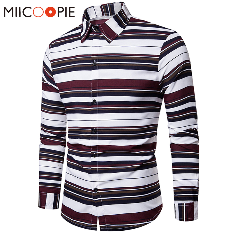 Colors Striped Long Sleeve Mens Shirt M-4XL Plus Size Slim Fit Casual Shirts Men Business Camisa Masculina Social Brand Clothing