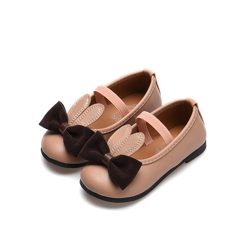Spring Summer Cute Girls Shoes Sweet Soft Leather With Bow-knot Rabbit Ears Kids Shoes Elastic Band Children Shoes Drop Shipping