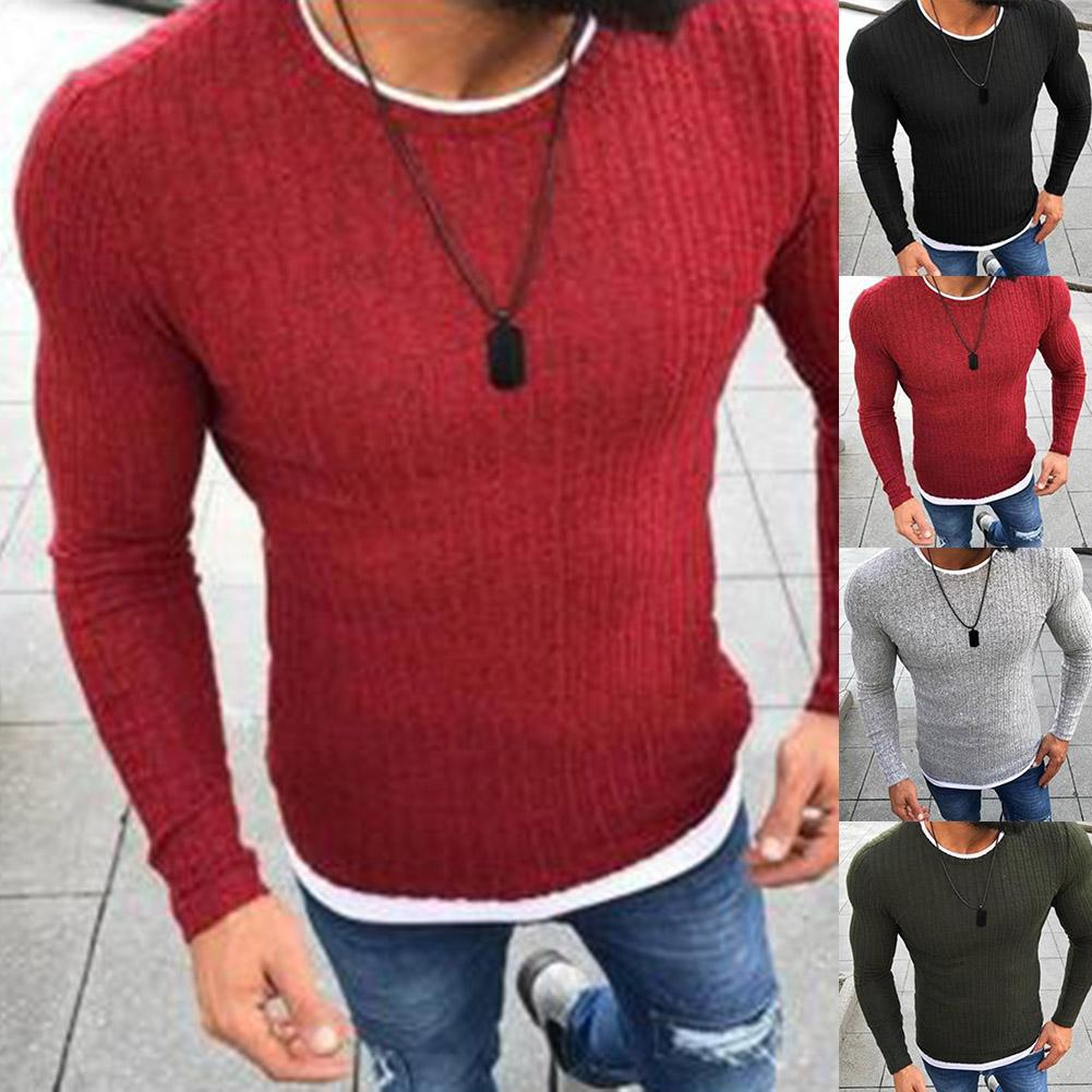 Sweater Men Casual O-Neck Pullover Men Autumn Slim  Long Sleeve Shirt Mens Sweaters Knitted Cashmere Cotton Spandex Men Sweater