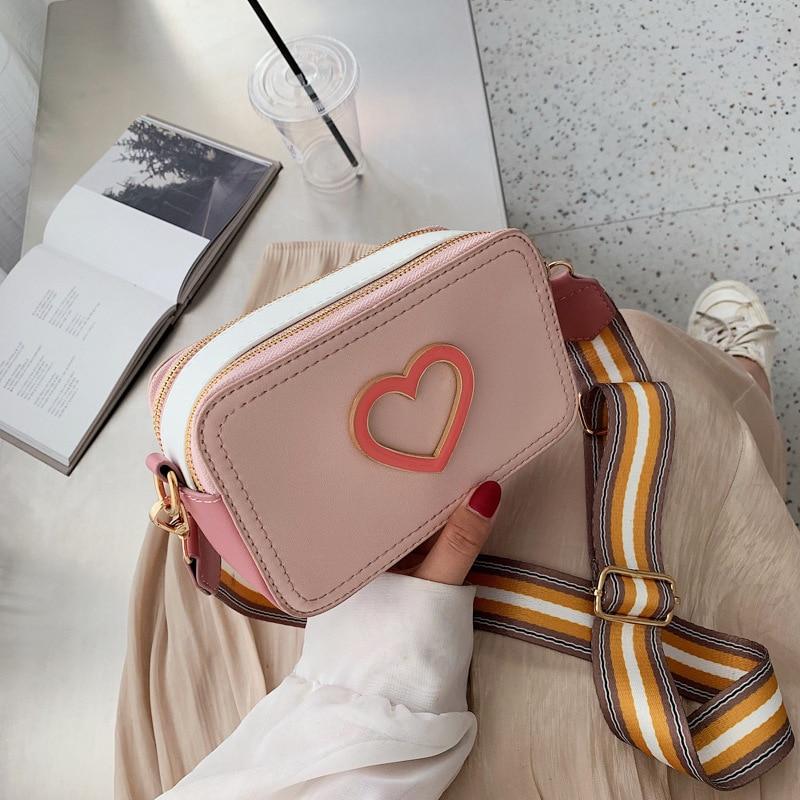 Pink Lovely Women's Messenger Bag Summer All-match Casual Wide Shoulder Strap Shoulder Square Sling Bag Handbag