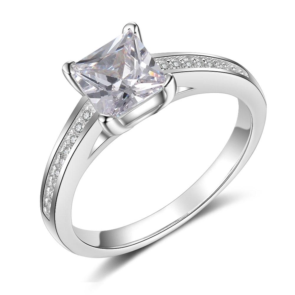 Promise кольцо из стерлингового серебра 925 с кубическим цирконием классические обручальные кольца для женщин подружки невесты подарки(JewelOra RI101321 - Цвет основного камня: R4024