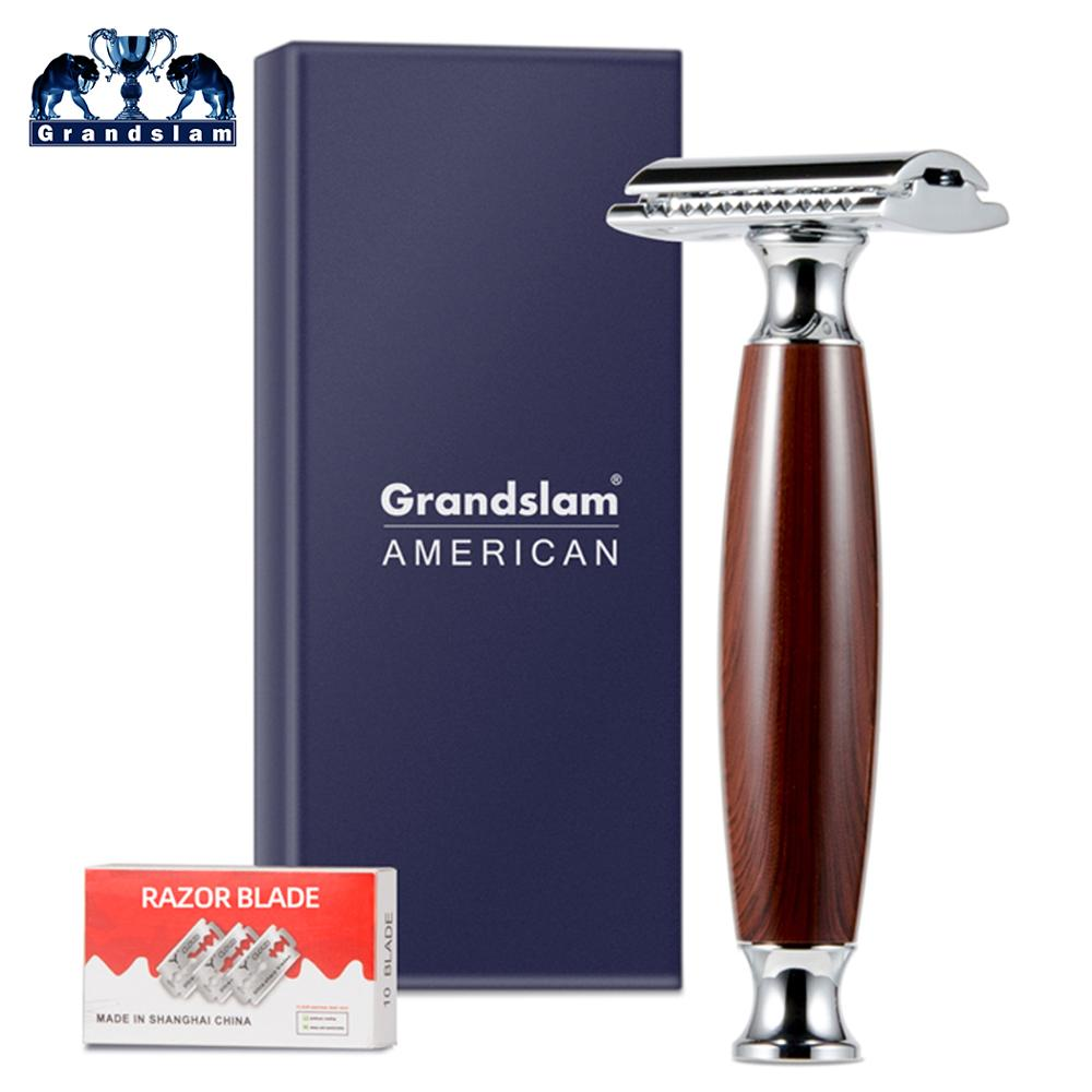 Grandslam Three Piece Open Comb Double Edge Safety Razor, Classic Professional Manual Safety Shaving Razor Shaver With 10  Blade
