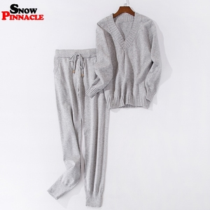 Image 3 - Women track suits sets Autumn Winter V neck pullovers + long pants sets Soft warm knitted sweater track suits