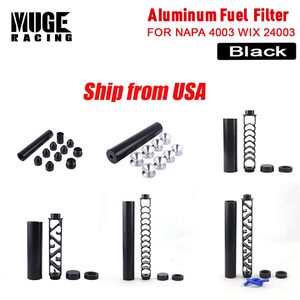 Black Aluminum Car Fuel Filter 10 inch 6 inch Extension Spiral 1/2-28 or 5/8-24 1X7 Car Solvent Trap for NAPA 4003 WIX 24003 OFI