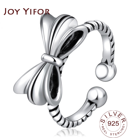 Vintage Bow-knot Thai Silver Open Ring 925 Sterling Silver Rings For Women Jewelry