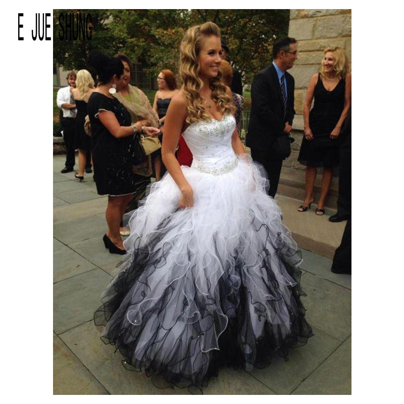 E JUE SHUNG Ruffles Wave Organza Wedding Dresses Sweetheart Gorgeous Beaded Crystal Sash Tiered Bridal Gowns Vestido De Noiva