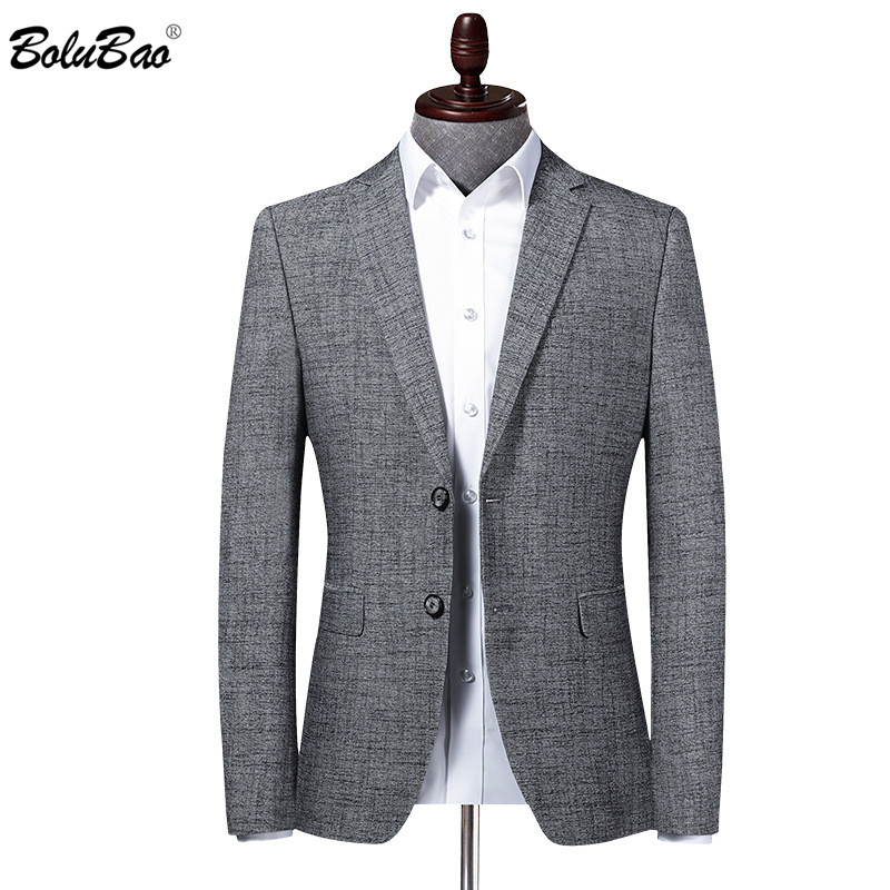 BOLUBAO Brand Men Blazer Coats Solid Color Business Men's V-Neck Suit Fashion Wedding Korean Dress Gray Male Blazers Coat