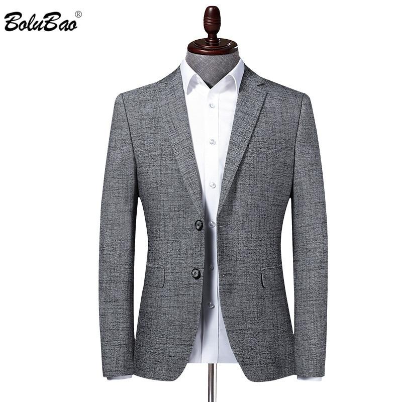 BOLUBAO Brand Men Blazer Coats Solid Color Business Men's V-Neck Suit Fashion Wedding Korean Dress Gray Male Blazers Coat
