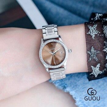 цена на Diamond Women Watches Top Luxury Brand Fashion Casual Ladies Waterproof Quartz Watch Leather Dress Girl Clock Relogio Feminino