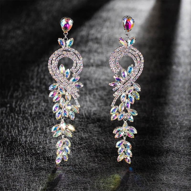 Boucles d'oreilles mariée européenne décoration de mariage longues boucles d'oreilles couleur robe de soirée banquet bijoux dames bijoux livraison gratuite