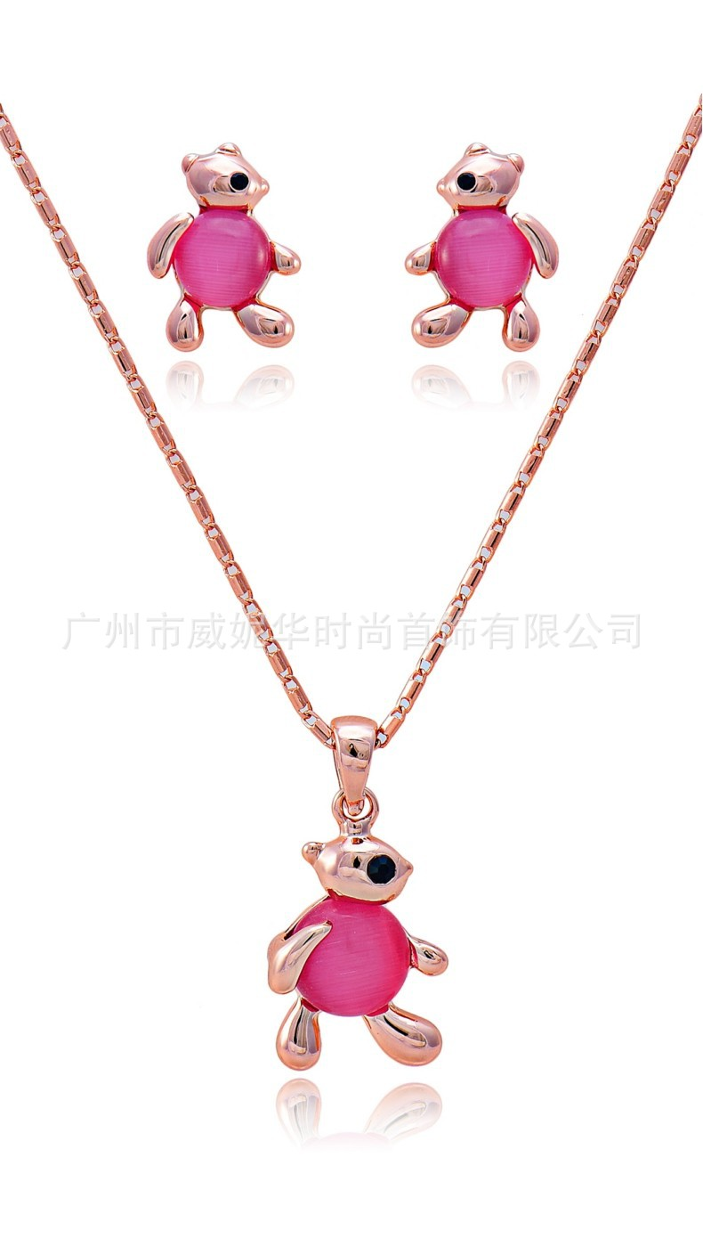 Jewelry-Set Viennois Accessori Opal Necklace Drop-Earrings American-Style European Pink