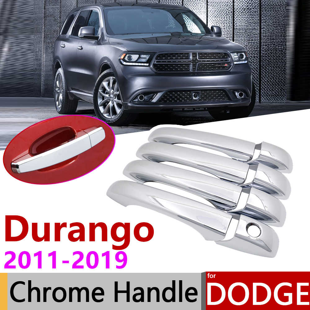 for Dodge Durango MK3 2011~2019 Chrome Door Handle Cover Car Accessories Stickers Trim Set 2012 2013 2014 2015 2016 2017 2018