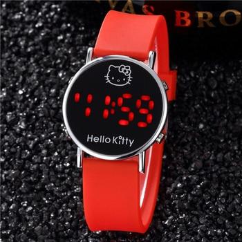 цена 2019 New Red Hello Kitty Watch for Kids Cartoon Children Ladies Wrist Watches Sports Clock Casual LED Digital Watches онлайн в 2017 году