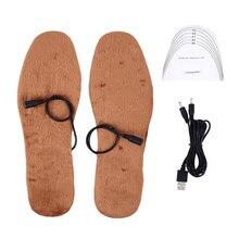 Новые USB стельки с электрическим подогревом, зимняя теплая обувь для ног с подогревом для обуви, теплые стельки для ног, вставки для мужчин и женщин
