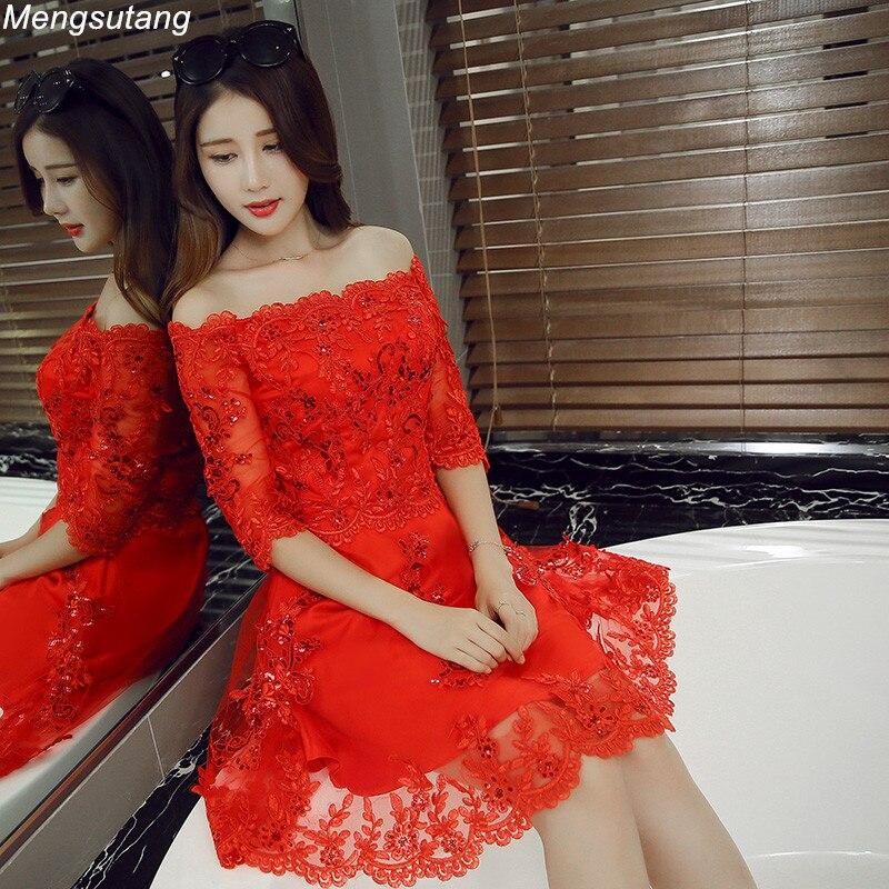 Женское вечернее платье с вырезом лодочкой, элегантное красное платье для выпускного вечера, 2019