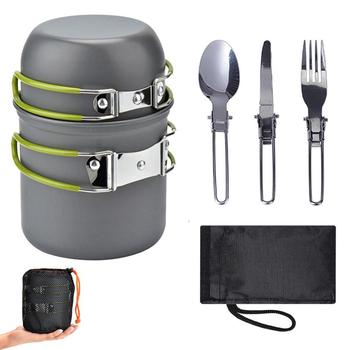 Outdoor Camping Cooker Set Portable Cooking Travel Cutlery Utensils Hiking Picnic Tools Green Handle Pot for 1-2 People image